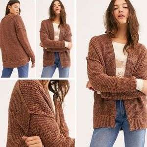 NWT Free People Brown Combo Knit Cardigan Size XS